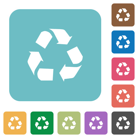 conservationist: Flat recycling icons on rounded square color backgrounds.