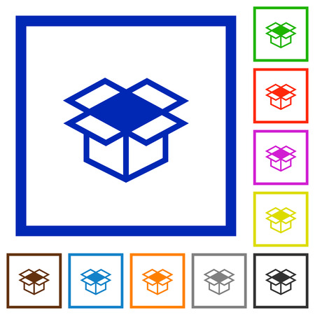 receptacle: Set of color square framed open box flat icons