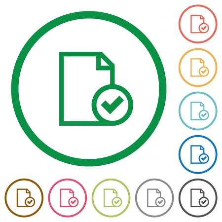 accepted: Set of Document accepted color round outlined flat icons on white background