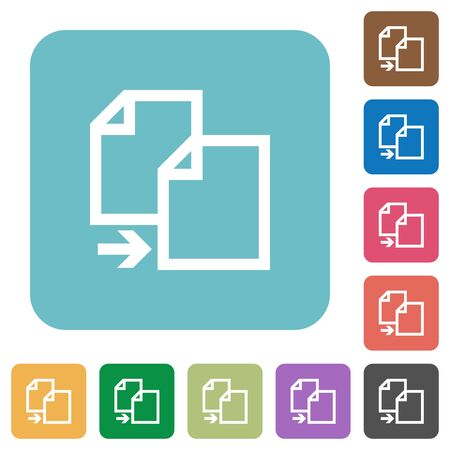 instances: Flat copy file icons on rounded square color backgrounds.