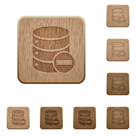 variations: Set of carved wooden remove from database buttons in 8 variations. Illustration