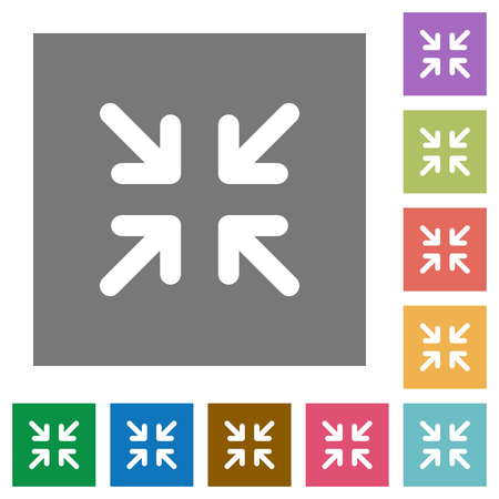 minimize: Minimize flat icon set on color square background.