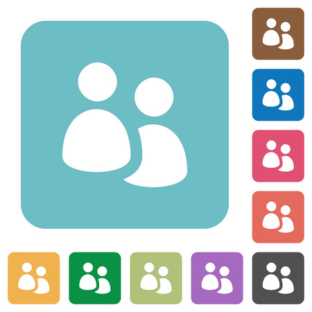 disposition: Flat user group icons on rounded square color backgrounds.