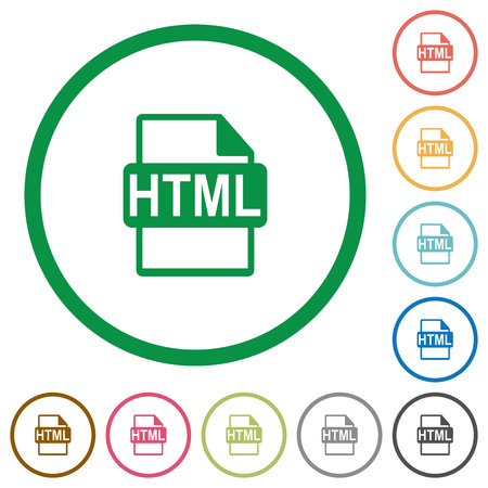 filetype: Set of HTML file format color round outlined flat icons on white background