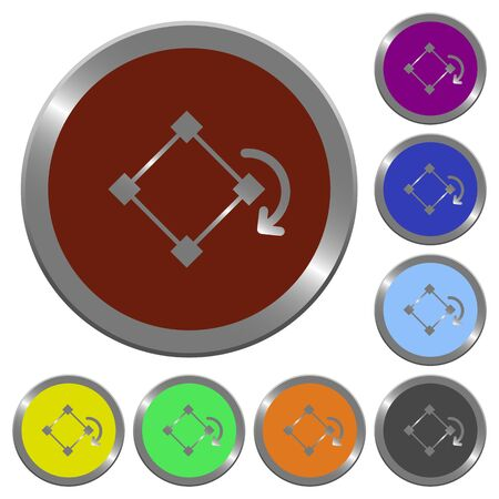 claret: Set of color glossy coin-like rotate element buttons.