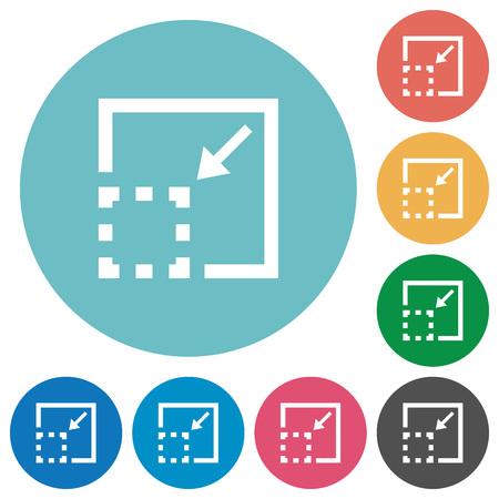 minimize: Flat minimize element icon set on round color background.