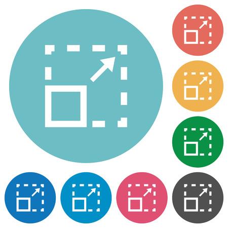 maximize: Flat maximize element icon set on round color background.