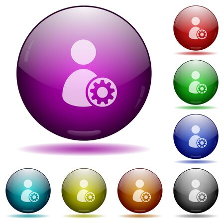 permissions: Set of color User account settings glass sphere buttons with shadows. Illustration