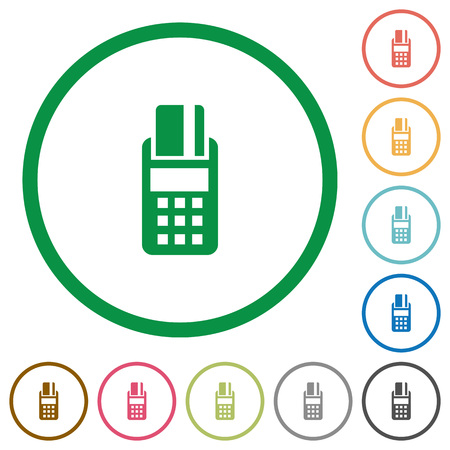 cardreader: Set of POS terminal color round outlined flat icons on white background Illustration