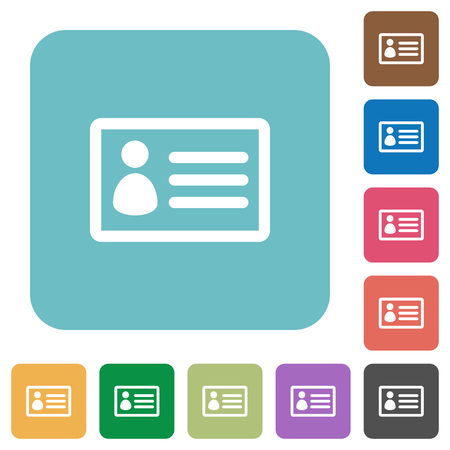 datasheet: Flat ID card icons on rounded square color backgrounds.