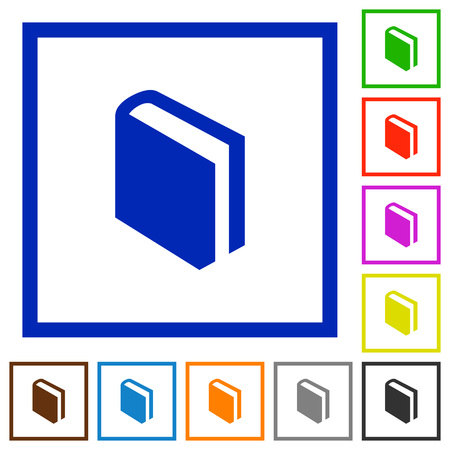lexicon: Set of color square framed book flat icons Illustration