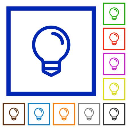 lumen: Set of color square framed light bulb flat icons