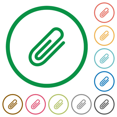 Set of attachment color round outlined flat icons on white background