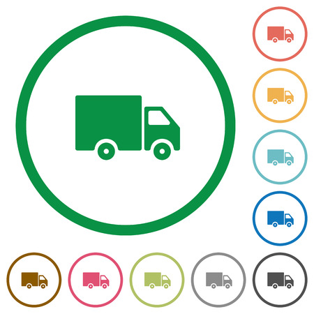shipper: Set of delivery truck color round outlined flat icons on white background Illustration