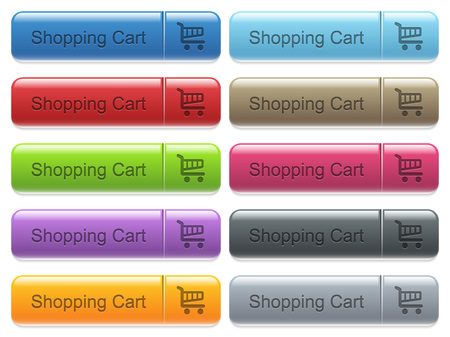 menu buttons: Set of shopping cart glossy color captioned menu buttons with engraved icons Illustration
