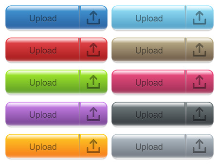 menu buttons: Set of upload glossy color captioned menu buttons with engraved icons