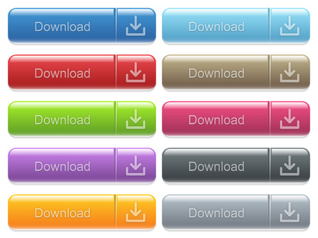 menu buttons: Set of download glossy color captioned menu buttons with embossed icons Illustration