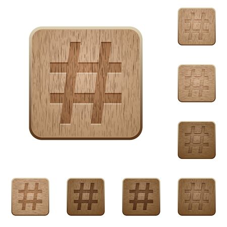 variations set: Set of carved wooden hashtag buttons in 8 variations.