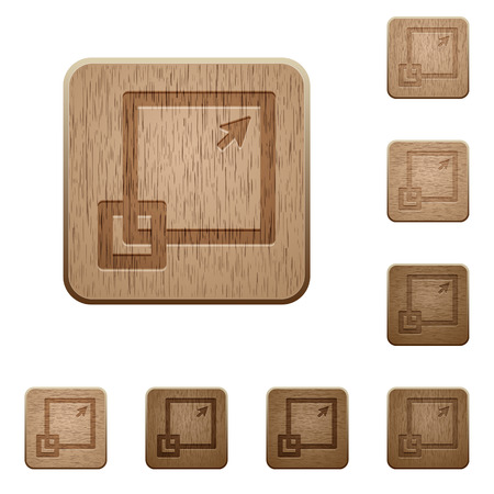 maximize: Set of carved wooden maximize window buttons in 8 variations.