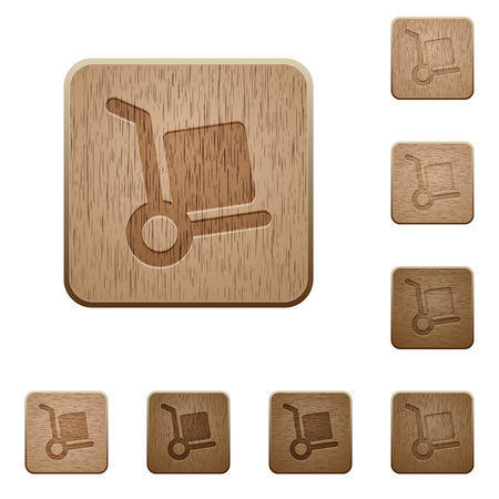 package deliverer: Set of carved wooden parcel delivery buttons in 8 variations.
