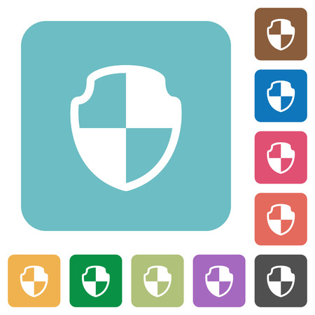 armor: Flat shield icons on rounded square color backgrounds. Illustration