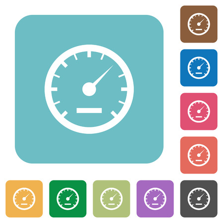 rounded: Flat speedometer icons on rounded square color backgrounds.
