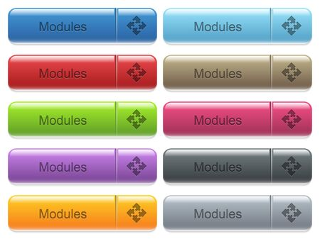Set of modules glossy color captioned menu buttons with engraved icons