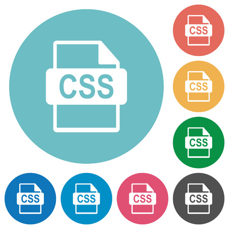 css: Flat CSS file format icon set on round color background.