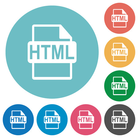 filetype: Flat HTML file format icon set on round color background.