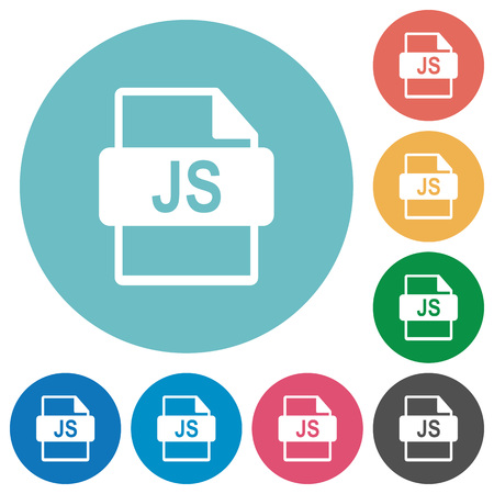 filetype: Flat JS file format icon set on round color background.
