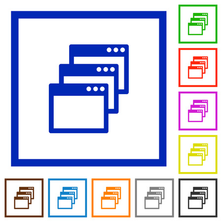 gradual: Set of color square framed Cascade window view mode flat icons