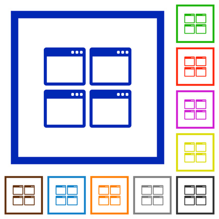 mode: Set of color square framed Mosaic window view mode flat icons Illustration