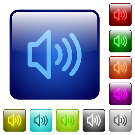 talkative: Set of volume color glass rounded square buttons Illustration