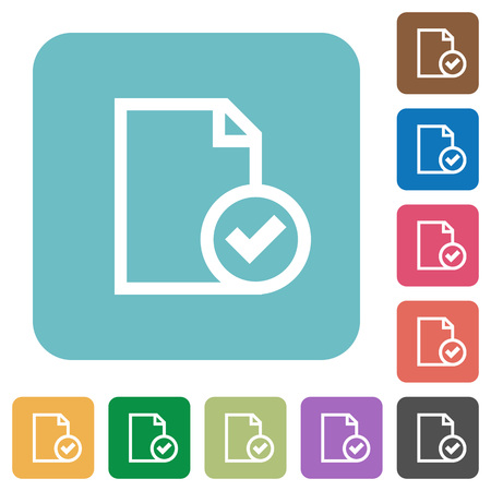 accepted: Flat document accepted icons on rounded square color backgrounds.