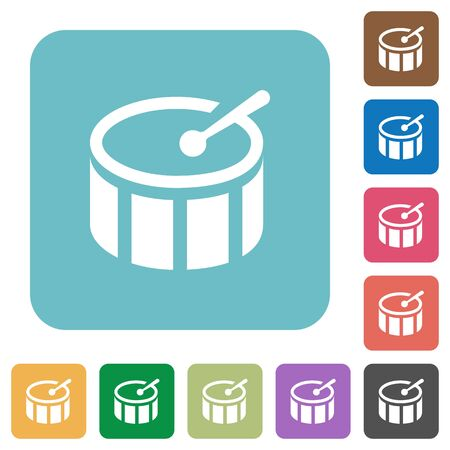 tact: Flat drum icons on rounded square color backgrounds. Illustration
