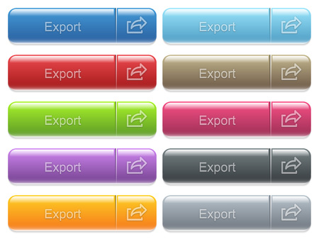 menu buttons: Set of export glossy color captioned menu buttons with embossed icons