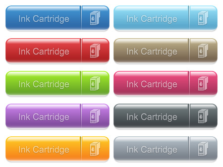 menu buttons: Set of ink cartridge glossy color captioned menu buttons with embossed icons
