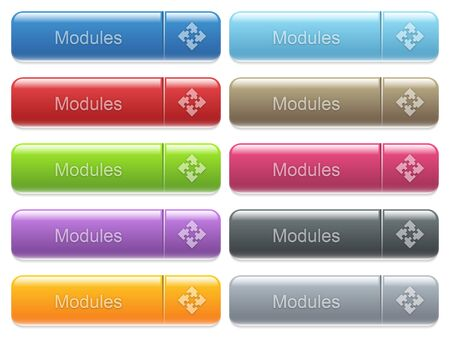 Set of modules glossy color captioned menu buttons with embossed icons Illustration