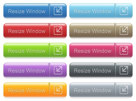 collapsing: Set of resize window glossy color captioned menu buttons with embossed icons