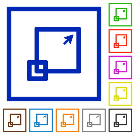 maximize: Set of color square framed maximize window flat icons