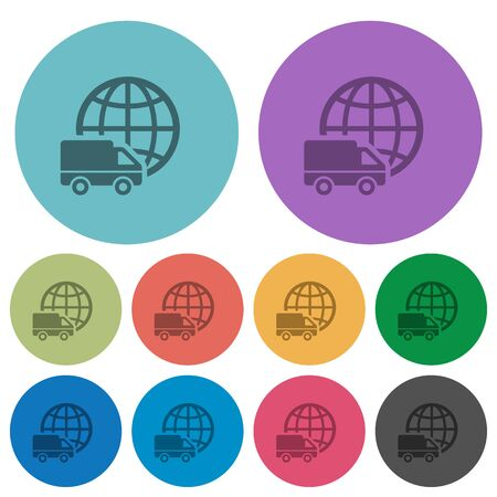 camion: Color international transport flat icon set on round background. Illustration