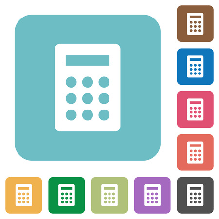 calc: Flat calculator icons on rounded square color backgrounds.