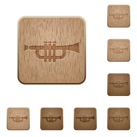 tact: Set of carved wooden trumpet buttons in 8 variations.