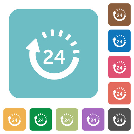 24 hour: Flat 24 hour delivery icons on rounded square color backgrounds.