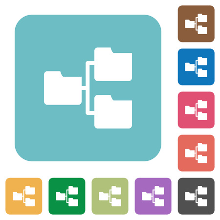 shared sharing: Flat shared folders icons on rounded square color backgrounds.