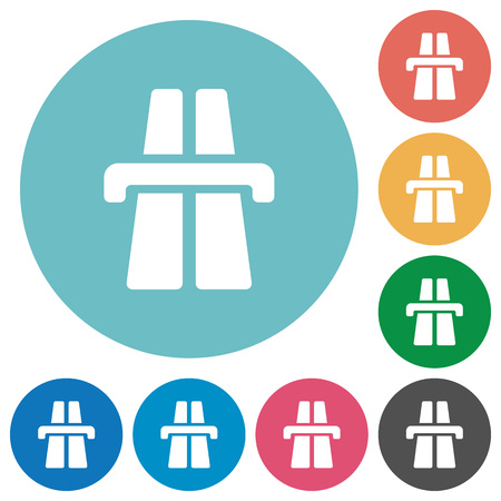highway icon: Flat highway icon set on round color background.
