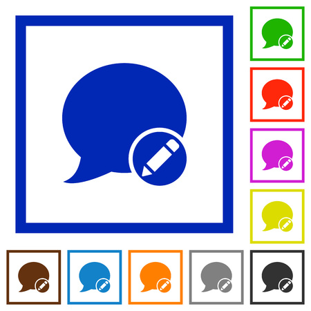 moderate: Set of color square framed Moderate blog comment flat icons Illustration