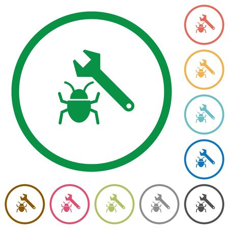 validating: Set of Bug fixing color round outlined flat icons on white background Illustration