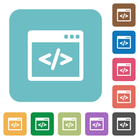 programming code: Flat programming code icons on rounded square color backgrounds. Illustration