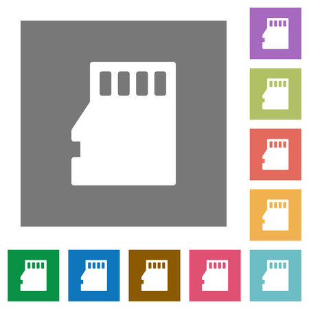 sd: Micro SD memory card flat icon set on color square background. Illustration